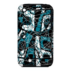 Blue, Black And White Abstract Art Apple Iphone 3g/3gs Hardshell Case (pc+silicone)