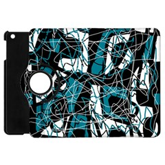 Blue, Black And White Abstract Art Apple Ipad Mini Flip 360 Case by Valentinaart