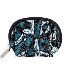 Blue, Black And White Abstract Art Accessory Pouches (small)  by Valentinaart