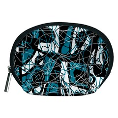 Blue, Black And White Abstract Art Accessory Pouches (medium)  by Valentinaart