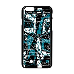 Blue, Black And White Abstract Art Apple Iphone 6/6s Black Enamel Case by Valentinaart