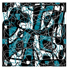 Blue, Black And White Abstract Art Large Satin Scarf (square)