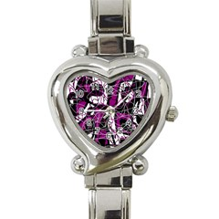 Purple, White, Black Abstract Art Heart Italian Charm Watch by Valentinaart