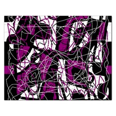 Purple, White, Black Abstract Art Rectangular Jigsaw Puzzl by Valentinaart