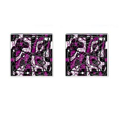 Purple, White, Black Abstract Art Cufflinks (square) by Valentinaart