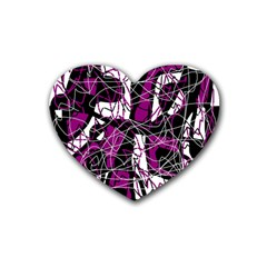 Purple, White, Black Abstract Art Heart Coaster (4 Pack)  by Valentinaart