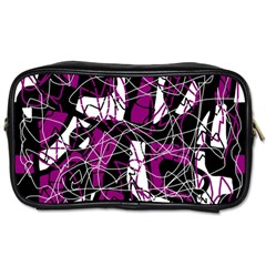 Purple, White, Black Abstract Art Toiletries Bags by Valentinaart