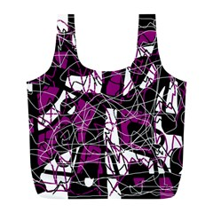 Purple, White, Black Abstract Art Full Print Recycle Bags (l)  by Valentinaart