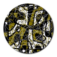 Brown Abstract Art Round Mousepads by Valentinaart