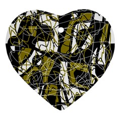Brown Abstract Art Ornament (heart)  by Valentinaart