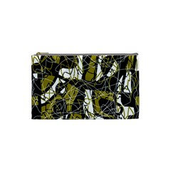 Brown Abstract Art Cosmetic Bag (small)  by Valentinaart