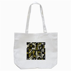Brown Abstract Art Tote Bag (white) by Valentinaart