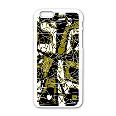 Brown Abstract Art Apple Iphone 6/6s White Enamel Case by Valentinaart