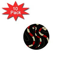 Red Snakes 1  Mini Buttons (10 Pack)  by Valentinaart