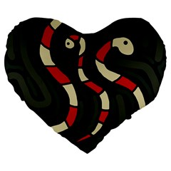 Red Snakes Large 19  Premium Heart Shape Cushions