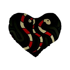 Red Snakes Standard 16  Premium Flano Heart Shape Cushions by Valentinaart