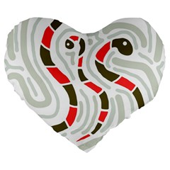 Snakes Family Large 19  Premium Flano Heart Shape Cushions by Valentinaart