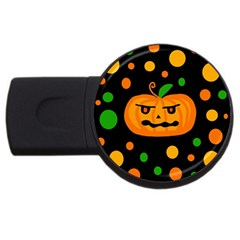 Halloween Pumpkin Usb Flash Drive Round (4 Gb)  by Valentinaart