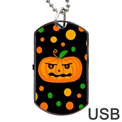 Halloween Pumpkin Dog Tag Usb Flash (two Sides)  by Valentinaart