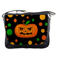 Halloween Pumpkin Messenger Bags by Valentinaart