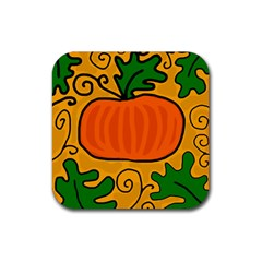 Thanksgiving Pumpkin Rubber Coaster (square)  by Valentinaart