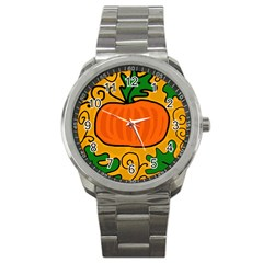 Thanksgiving Pumpkin Sport Metal Watch by Valentinaart