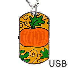 Thanksgiving Pumpkin Dog Tag Usb Flash (one Side) by Valentinaart