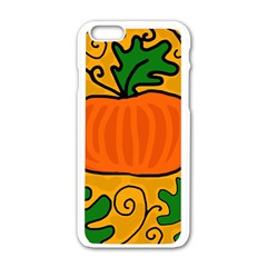 Thanksgiving Pumpkin Apple Iphone 6/6s White Enamel Case by Valentinaart