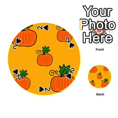 Thanksgiving Pumpkins Pattern Playing Cards 54 (round)  by Valentinaart