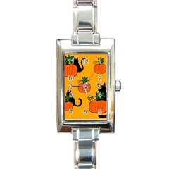Halloween Pumpkins And Cats Rectangle Italian Charm Watch by Valentinaart