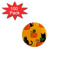 Halloween Pumpkins And Cats 1  Mini Magnets (100 Pack)  by Valentinaart