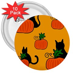 Halloween Pumpkins And Cats 3  Buttons (10 Pack)  by Valentinaart