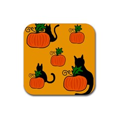 Halloween Pumpkins And Cats Rubber Coaster (square)  by Valentinaart