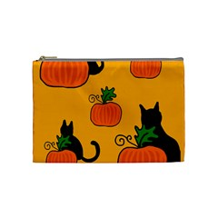 Halloween Pumpkins And Cats Cosmetic Bag (medium)  by Valentinaart