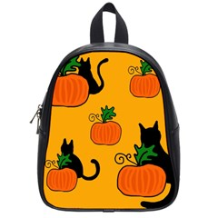 Halloween Pumpkins And Cats School Bags (small)  by Valentinaart