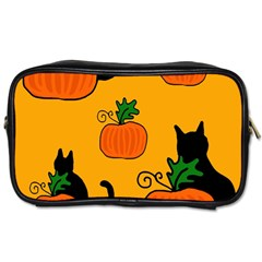 Halloween Pumpkins And Cats Toiletries Bags 2 Side by Valentinaart