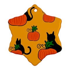 Halloween Pumpkins And Cats Snowflake Ornament (2 Side) by Valentinaart