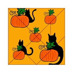 Halloween Pumpkins And Cats Acrylic Tangram Puzzle (6  X 6 ) by Valentinaart