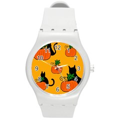 Halloween Pumpkins And Cats Round Plastic Sport Watch (m) by Valentinaart