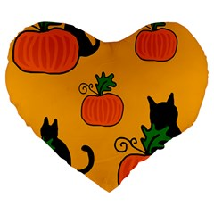 Halloween Pumpkins And Cats Large 19  Premium Heart Shape Cushions by Valentinaart