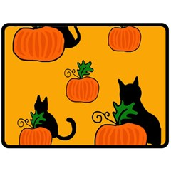 Halloween Pumpkins And Cats Double Sided Fleece Blanket (large)  by Valentinaart