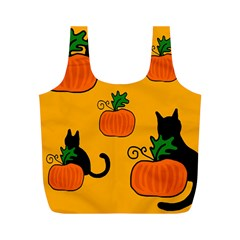Halloween Pumpkins And Cats Full Print Recycle Bags (m)
