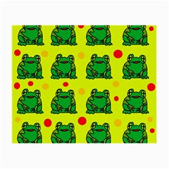 Green Frogs Small Glasses Cloth by Valentinaart