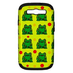 Green Frogs Samsung Galaxy S Iii Hardshell Case (pc+silicone) by Valentinaart