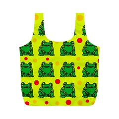 Green Frogs Full Print Recycle Bags (m)  by Valentinaart