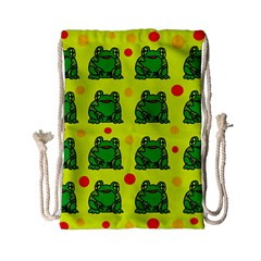 Green Frogs Drawstring Bag (small) by Valentinaart