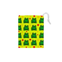 Green Frogs Drawstring Pouches (xs)  by Valentinaart