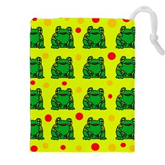 Green Frogs Drawstring Pouches (xxl) by Valentinaart