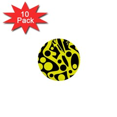Black And Yellow Abstract Desing 1  Mini Buttons (10 Pack)  by Valentinaart