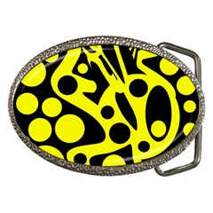 Black And Yellow Abstract Desing Belt Buckles by Valentinaart
